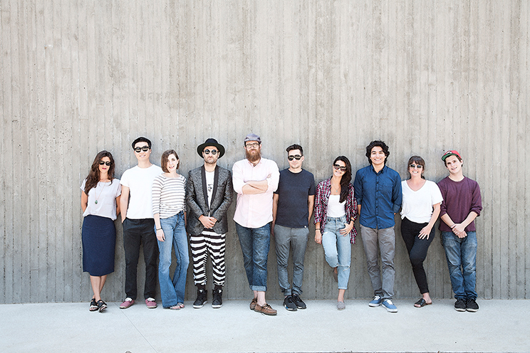 Left to right: Stephanie Gocke, Producer; Stanley Jeong, Vault Coordinator; Christine Bilich, East Coast Producer; Sam Spiegel, Owner; Rob Barbato, Creative Director; Justin Hori, Creative Director; Farima Moradnouri, Finance Manager; Charles Rojas, Composer; Amy Crilly, Executive Producer; Blade Thornton, Production Coordinator